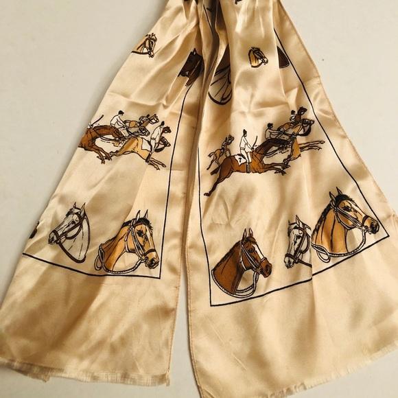 Vintage equestrian neckerchief scarf